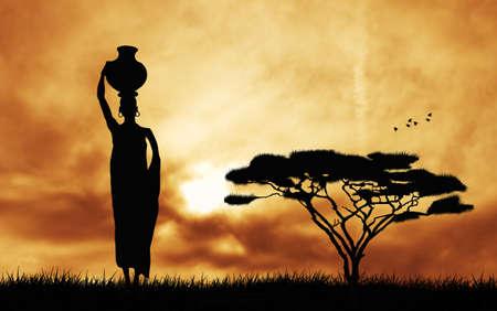 africa sunset: Donna africana che porta l'acqua Archivio Fotografico
