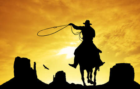 Cowboy in Monument Valley photo