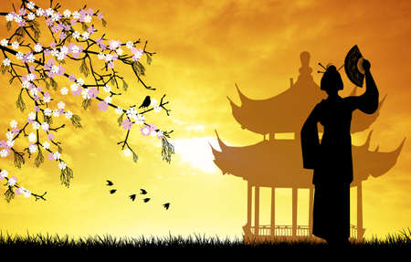 chinese pagoda: Geisha silhouette illustration Stock Photo