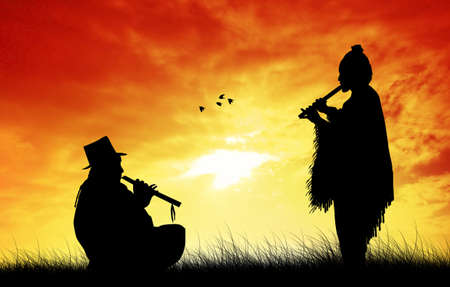 sunlgiht: Peruvian man playing the flute