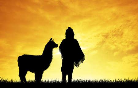 sunlgiht: Peruvian landscape Stock Photo