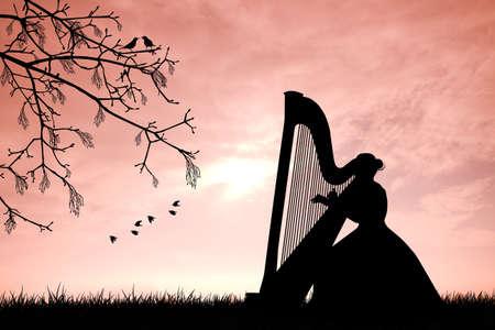 harp: woman playing the harp