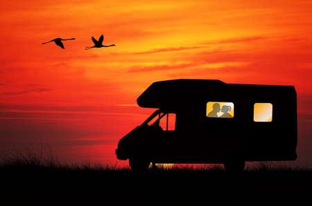 campground: People in caravan