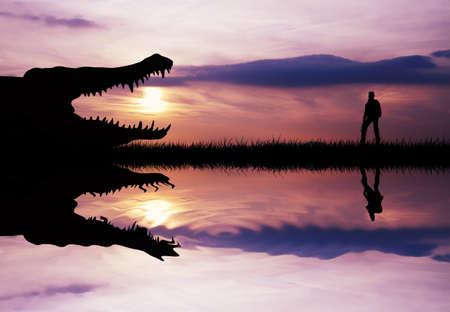 ponderous: Alligator on river