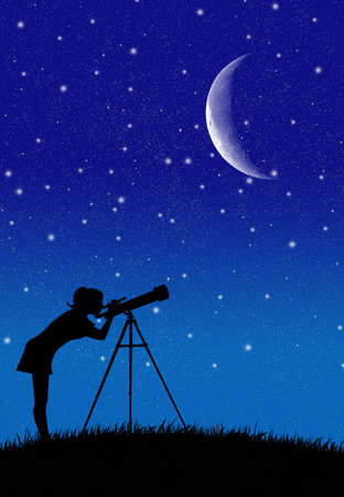 look with telescope photo