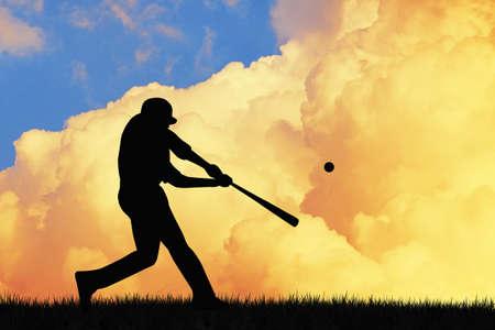 baseball field: baseball at sunset Stock Photo