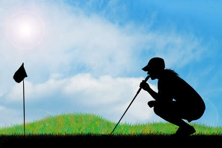 Golfer silhouette Stock Photo - 18876317