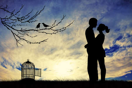 lovers kissing: Romantic couple in love Stock Photo
