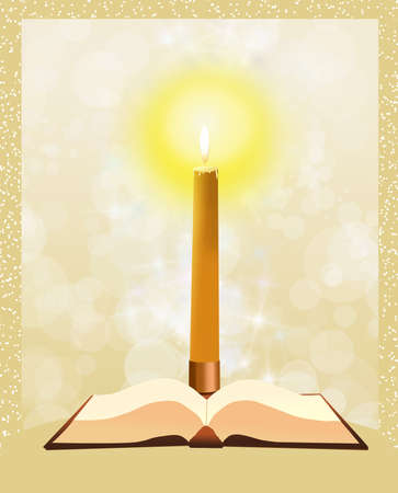 the scriptures: Bible with candle Stock Photo