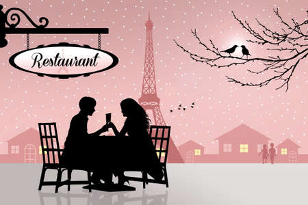 Romantic dinner in Paris Stock Photo