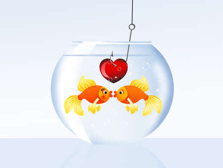 Fish in love in the bowl photo