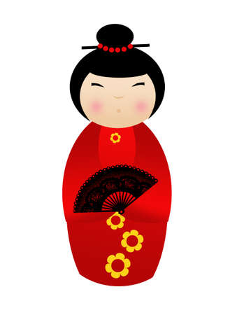 Kokeshi doll on white background photo