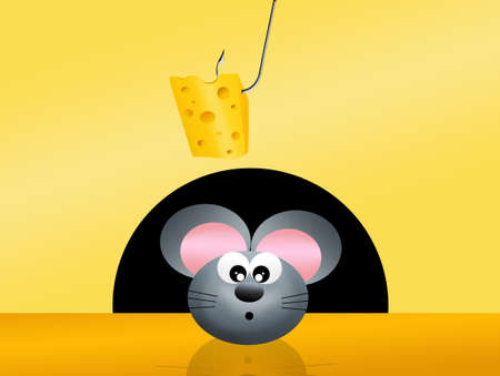 deliciously: mouse  and cheese Stock Photo