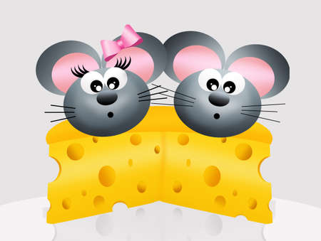 mice in love on the slice of cheese photo