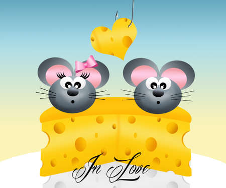 s trap: mice in love on the slice of cheese