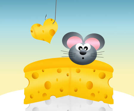 siting: mouse on cheese Stock Photo