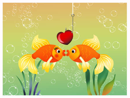 Fish in love Stock Photo - 19336140