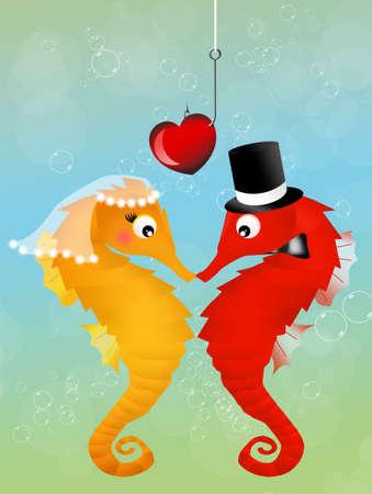 valentine s day beach: seahorses in love