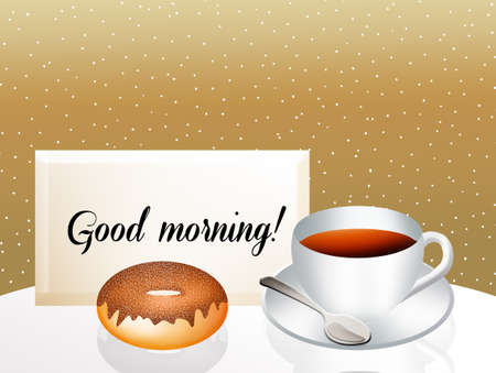 good break: Coffee and donut in the morning Stock Photo