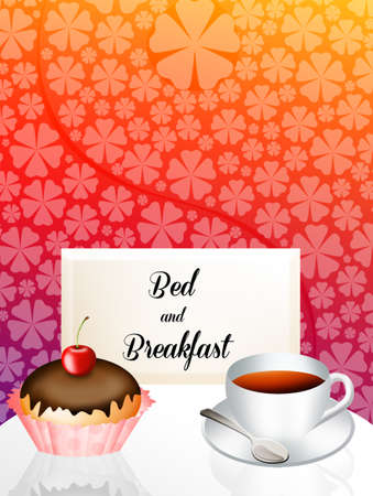 breakfast in bed: Bed and breakfast illustration