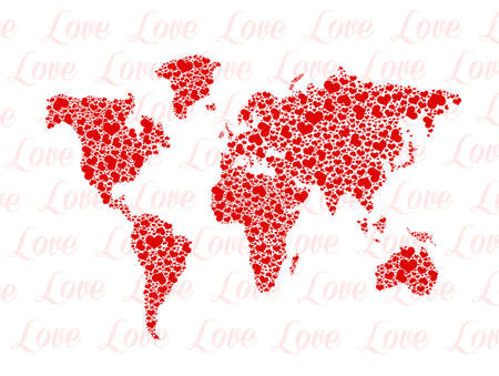 planisphere: love around the world Stock Photo