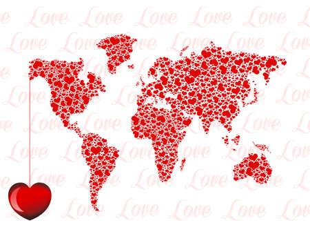 planisphere: love in the world Stock Photo