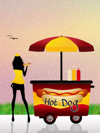 Illustration of hot dog cart illustration