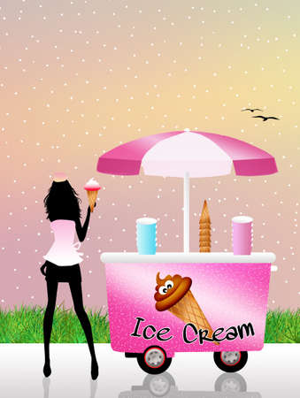 kiddies: Illustration of ice cream cart Stock Photo