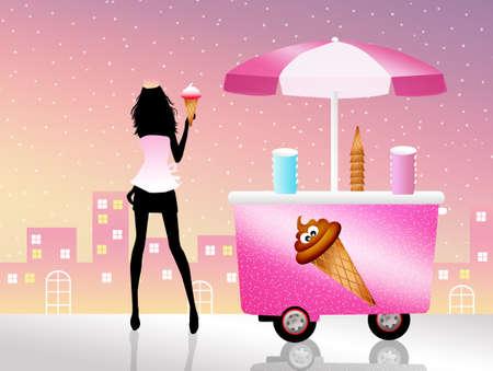 kiddies: girl sells ice cream Stock Photo
