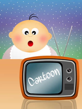 Children watch cartoons photo