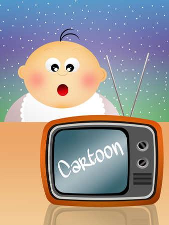 playstation: Children watch cartoons Stock Photo