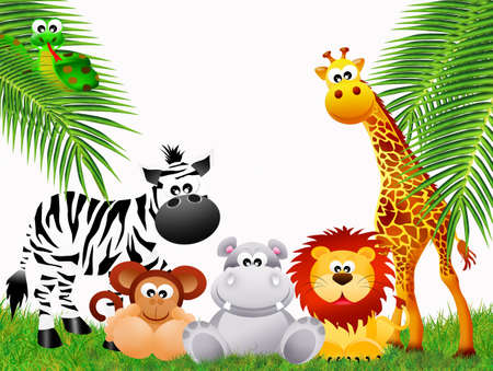 illustration zoo: zoo animals Stock Photo