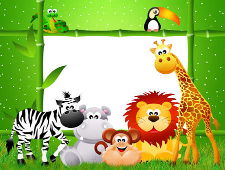 zoo animals: Zoo animals cartoon Stock Photo