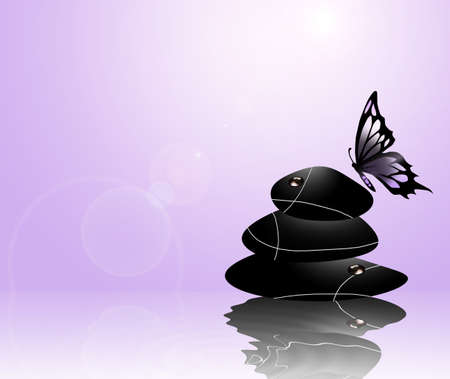 Zen stone and butterfly photo