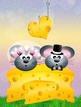 siting: mice in love over cheese Stock Photo