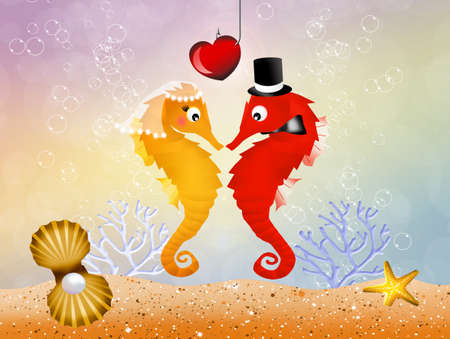 Wedding of seahorses photo