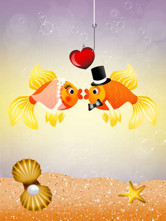 Fishes in love Stock Photo - 20634169