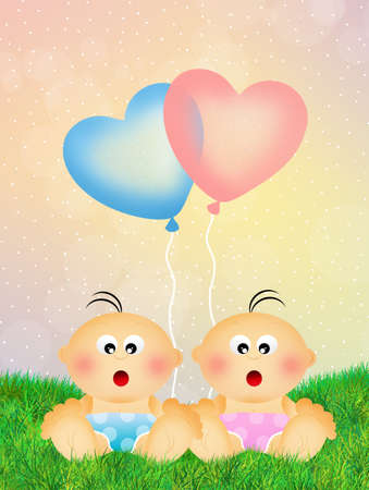 Babies with heart balloons Stock Photo
