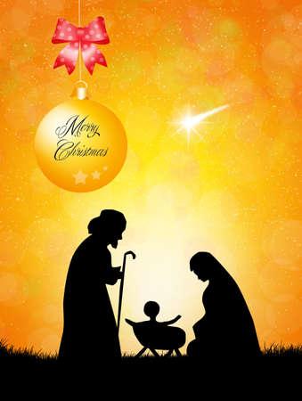 크리스마스 성 탄 장면 스톡 콘텐츠