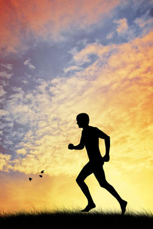 man running silhouette photo