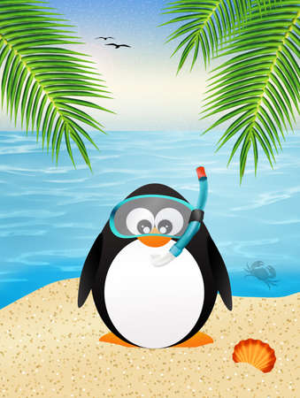 penguin with scuba mask Stock Photo
