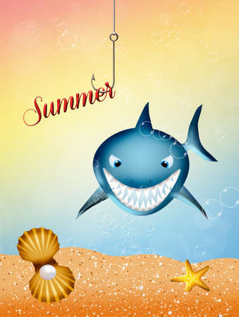 illustration of shark cartoon Stock Illustration - 21158617
