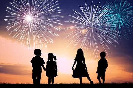 children watch the fireworks photo