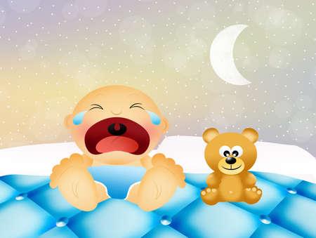 sleeps: Baby cries Stock Photo