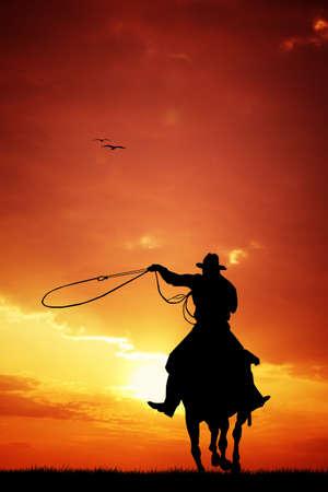 Man horseback silhouette