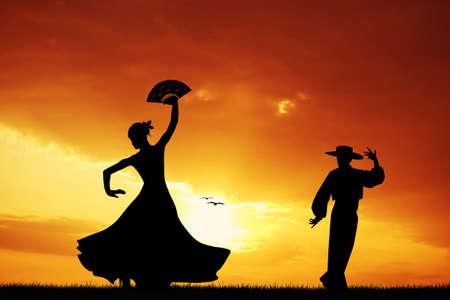Flamenco dancers at sunset photo