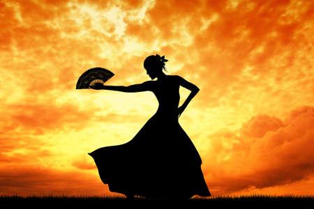 danseuse flamenco: Femme danse flamenco
