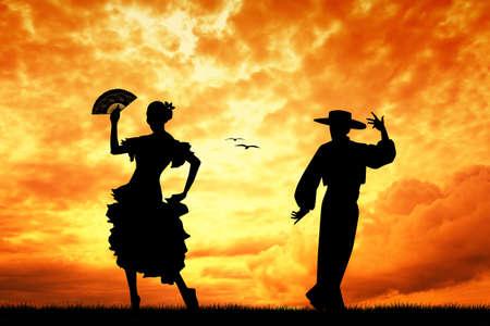 bailando flamenco: Pareja de baile flamenco