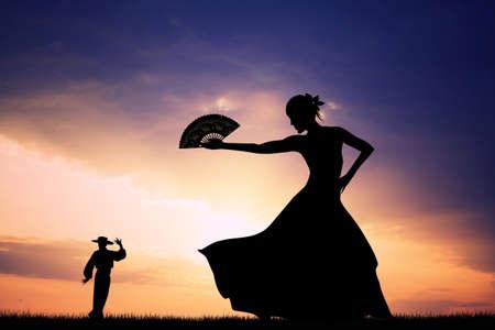 Flamenco silhouette at sunset