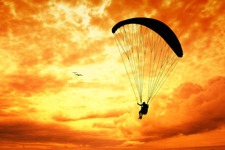 Paragliding silhouette at sunset photo